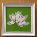 Lótuszvirág- üvegfestmény, Képzőművészet, Festmény, Keretezve 33cm x 33cm a festmény nagysága. A virág árnyék szirmait az üveg hátlapjára festet..., Meska