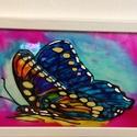 Dunai pillangó, Képzőművészet, Otthon, lakberendezés, Festmény, Üvegfestmény - keretezve 36 cm x 66 cm. A természet gyönyörű színekkel látja el a pillangót..., Meska
