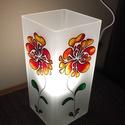 Asztali lámpa - pipacs, Otthon, lakberendezés, Lámpa, Asztali lámpa, A natúr üveglámpa két oldalát festettem meg üvegfestékkel. Saját tervezésű pipacs virágom..., Meska