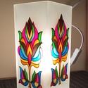 Asztali lámpa - tulipán, Otthon, lakberendezés, Lámpa, Asztali lámpa, A natúr üveglámpa két oldalát festettem meg üvegfestékkel. KeDo mintáját saját színvilág..., Meska