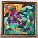 Halak játéka - üvegfestmény, Otthon, lakberendezés, Falikép, A keretezett üvegfestmény 61 cm x 61 cm. Az absztrakt festmény két féle üvegfestékkel készü..., Meska