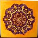 Lilavirág Mandala, Képzőművészet, Otthon, lakberendezés, Festmény, Falikép, Festészet, Nappali dísze lehet ez a nagyméretű ( 76 x 76 cm) akril festékkel fára festett és lakkozott mandala..., Meska