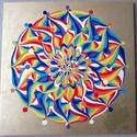 Szivárványok Mandala, Képzőművészet, Otthon, lakberendezés, Festmény, Falikép, Festészet, Nappali dísze lehet ez a nagyméretű ( 76 x 76 cm) akril festékkel fára festett és lakkozott mandala..., Meska