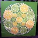Lime Mandala, Képzőművészet, Otthon, lakberendezés, Festmény, Falikép, Festészet, Nappali dísze lehet ez a nagyméretű ( 76 x 76 cm) akril festékkel fára festett és lakkozott mandala..., Meska