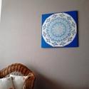Jégvirág Mandala, Képzőművészet, Otthon, lakberendezés, Festmény, Falikép, Festészet, Nappali dísze lehet ez a nagyméretű ( 76 x 76 cm) akril festékkel fára festett és lakkozott mandala..., Meska