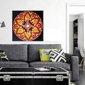 Mese Mandala, Képzőművészet, Otthon, lakberendezés, Festmény, Falikép, Festészet, Nappali dísze lehet ez a nagyméretű ( 76 x 76 cm) akril festékkel fára festett és lakkozott mandala..., Meska