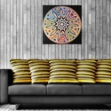 Szivárvány Mandala, Képzőművészet, Otthon, lakberendezés, Festmény, Falikép, Festészet, Nappali dísze lehet ez a nagyméretű ( 76 x 76 cm) akril festékkel fára festett és lakkozott mandala..., Meska