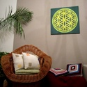 Foszforeszkáló Mandala, Képzőművészet, Otthon, lakberendezés, Festmény, Falikép, Festészet, Nappali dísze lehet ez a nagyméretű ( 76 x 76 cm) akril festékkel fára festett és lakkozott mandala..., Meska