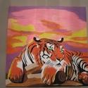 Világító Tigris, Képzőművészet, Otthon, lakberendezés, Festmény, Falikép, Festészet, Nappali dísze lehet ez a nagyméretű ( 76 x 76 cm) akril festékkel fára festett és lakkozott kép. Fa..., Meska