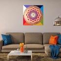 Aum Mandala, Képzőművészet, Otthon, lakberendezés, Festmény, Falikép, Festészet, Nappali dísze lehet ez a nagyméretű ( 76 x 76 cm) akril festékkel fára festett és lakkozott mandala..., Meska