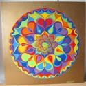 Szivárvány Szeretet Mandala, Képzőművészet, Otthon, lakberendezés, Szerelmeseknek, Festmény, Festészet, Nappali dísze lehet ez a nagyméretű ( 76 x 76 cm) akril festékkel fára festett és lakkozott mandala..., Meska