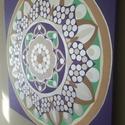 Ezüst Bőség Mandala, Képzőművészet, Otthon, lakberendezés, Festmény, Falikép, Festészet, Nappali dísze lehet ez a nagyméretű ( 76 x 76 cm) akril festékkel fára festett és lakkozott mandala..., Meska