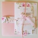 Prémium Virágos Esküvői Meghívó Program kártyával, Esküvő, Szerelmeseknek, Meghívó, ültetőkártya, köszönőajándék, Esküvői dekoráció, Fotó, grafika, rajz, illusztráció, Csomagár/db tartalmaz: 1. Meghívó lap, egyoldalas nyomtatással: 10,5cm x 14,8cm, lekerekített sarko..., Meska