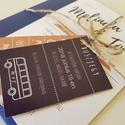 Modern kék-barna Esküvői Meghívó, Esküvő, Szerelmeseknek, Meghívó, ültetőkártya, köszönőajándék, Esküvői dekoráció, Fotó, grafika, rajz, illusztráció, Csomagár/db tartalmaz: 1. Meghívó lap, egyoldalas nyomtatással: 10,5cm x 14,8cm, lekerekített sarko..., Meska