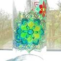 Mandala lámpás, Otthon, lakberendezés, Gyertya, mécses, gyertyatartó, Festett tárgyak, Borosüvegből készült felakasztható lámpás. A kerthelység dísze lehet. Mandala minták vannak rajta, ..., Meska
