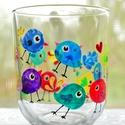 Zsizsegős madárkák mécsestartó, Otthon, lakberendezés, Gyertya, mécses, gyertyatartó, Újrahasznosított mécsestartó, melyből a gyertyát kiszedtem. A festés kézzel készült, üveg..., Meska