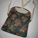 Karolina táska 3 funkcióval, Táska, Ruha, divat, cipő, Női ruha, Hátizsák, Varrás, Közepesen vastag virágos vászonból készült, bőr elemekkel díszítve.  Használható válltáskaként, átv..., Meska
