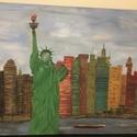 New York , Művészet, Festmény, Olajfestmény, Festett tárgyak, Nem York a Szabadság szoborral. Olajfestmény. Saját készítésű. 80x60 cm méretű. Tiniknek ajánlom. , Meska