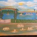Balatonfüred , Művészet, Festmény, Olajfestmény, Festett tárgyak, Balatonfüred Tagore sétány 50x70 vászonra olajfestékkel festve. Saját készítésű, teljesen új., Meska