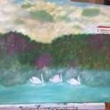 Vonulás a vihar elől, Művészet, Festmény, Olajfestmény, Festett tárgyak, Vonulás a vihar elől  80x60 méretű saját készítésű olajfestmény.  A kép szélei festve vannak, keret..., Meska