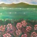 Virágos Balaton, Művészet, Festmény, Olajfestmény, Festett tárgyak, 50x50 méretű olajfestmény. Saját kezűleg készült, feszített vászonra. Oldalait festettem, keretezés..., Meska