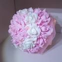 Egyedi, alkalmi csokor pink-fehér, Esküvő, Esküvői csokor, Mindenmás, Alkalmi csokor. Ajándékba, menyasszonynak,  Kb. 28 cm magas és 21 cm széles. Fehér és rózsaszín. Ha..., Meska