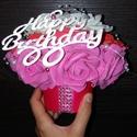 Happy Birthday pink kaspó, Dekoráció, Dísz, Csodaszép, egyedi ajándék kaspó, örökrózsából. Pink-fehér-piros színű. Ezüst felirat, h..., Meska
