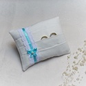 Zsebes gyűrűpárna- menta színű szalaggal