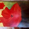 Pipacs akril festmény, Dekoráció, Képzőművészet, Festmény, Festészet, Patchwork, foltvarrás, Akril festmény farostlemezre festve.  mérete 40*30 cm A pipacs festmény egy festőtanfolyam alkalmáv..., Meska