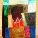 Absztrakt akril festmény, Képzőművészet, Festmény, Akril, Festészet, Alapozott farostlemezre festett absztrakt kép, melynek mérete 30*40 cm. Ecsettel  készült egy festő..., Meska