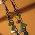 Szivárványos füli, Ékszer, óra, Fülbevaló, Ékszerkészítés, Ezt az egyedi fülbevalót a tavasz színei ihlették. :) Bronz színű szerelékeket választottam hozzá, ..., Meska