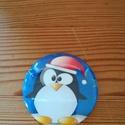 Pingvin Mágnes, Konyhafelszerelés, Hűtőmágnes, Mindenmás, Alapanyag: Fém, vízhatlan fólia.  Mérete: 38 mm átmérő.   A minta préseléssel kerül a kész termékre..., Meska