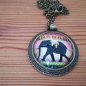 Bronz elefánt nyaklánc, Ékszer, Nyaklánc, A képen látható nyaklánc üveglencse technikával készült. A medál átmérője 25mm, és 60 c..., Meska