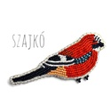 Szajkó madaras gyöngy kitűző , Ékszer, óra, Bross, kitűző, Ékszerkészítés, Gyöngyfűzés, A szajkó vagy más néven mátyásmadár is gyakori madarunk, szárnyát gyönyörű kék-fekete pöttyös fedőt..., Meska