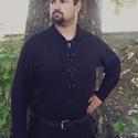 Hagyományőrző férfi ing - egyedi méretre!, Ruha, divat, cipő, Férfiaknak, Hagyományőrző ajándékok, Férfi ruha, Varrás, Lenvászonból varrtam ezt a  fekete inget, - elején fém ringlikkel, zsinórral záródik, nyakán gallér..., Meska