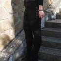 Rocker legging - 42-es méret / XL, Ruha, divat, cipő, Női ruha, Nadrág, Varrás, Elasztikus fekete anyagból készült ez a legging, lábszárán MESH anyagból szabott ,- oldalán műbőr b..., Meska