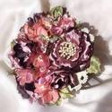 """"""" Édenkert"""" szitakötős strasszos brossos menyasszonyi csokor, Esküvő, Dekoráció, Esküvői csokor, Varrás, Virágkötés, Ez a csokor az """" Édenkert """" nevet kapta bujasága és vibráló színei valamint formái miatt. Különlege..., Meska"""
