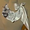 """""""Pandóra"""" törtfehér/fekete/ezüst virágos menyasszonyi (alkalmi) nyakék, Esküvő, Esküvői ékszer, Extravagáns szaténvirág menyasszonyi nyakék. Merevített félhold alakú alapra, szatén, muszli..., Meska"""