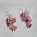 """"""" Vattacukor"""" virág fülbevaló, Esküvő, Ékszer, Esküvői ékszer, Fülbevaló, Hófehér liliom, és rózsaszín kis harangvirágok csorognak egy kis fürtben, ahova még bekeverr..., Meska"""