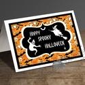 Halloween Képeslap, Halloween Üdvözlőlap, Őszi narancssárga lap, Naptár, képeslap, album, Dekoráció, Képeslap, levélpapír, Kép, A/6-os méretű Halloween képeslap, narancssárga borítékkal.   A6-os kinyitható üdvözlőlap, belül üres..., Meska