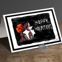 Halloween Képeslap, Halloween Üdvözlőlap, Őszi narancssárga lap, Naptár, képeslap, album, Dekoráció, Képeslap, levélpapír, Kép, A/6-os méretű Halloween képeslap, narancssárga borítékkal.   A saját magam által tervezett H..., Meska