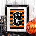 Halloween Kép, Halloween party, Halloween Dekoráció, Őszi narancssárga Dekor, Dekoráció, Kép, Dísz, Ünnepi dekoráció, A/4-es méretű Halloween-es nyomtatott kép, Print lap.   A saját magam által tervezett Halloween..., Meska
