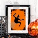 Halloween Kép, Halloween party, Halloween Dekoráció, Őszi narancssárga Dekor, Dekoráció, Képzőművészet, Kép, Illusztráció, Fotó, grafika, rajz, illusztráció, Mindenmás, A/5-ös(14.8 x 21cm)méretű Halloween-es nyomtatott kép, Print lap.   Tökéletes Halloween-i dekoráció..., Meska