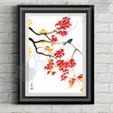 Őszi Dekoráció, Japán festett Kép, madár festmény, Dekoráció, Otthon, lakberendezés, Kép, Falikép, A/4-es méretű nyomtatott kép, Print lap.   A nyomat saját alkotásomról vegyes technikával készült am..., Meska