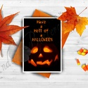 Halloween Képeslap, Halloween Üdvözlőlap, Őszi narancssárga lap, Töklámpás, Naptár, képeslap, album, Dekoráció, Képeslap, levélpapír, Kép, Fotó, grafika, rajz, illusztráció, Mindenmás, A/6-os méretű Halloween képeslap, narancssárga borítékkal.   A saját magam által tervezett Hallowee..., Meska