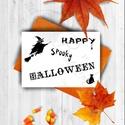 Halloween Képeslap, Halloween Üdvözlőlap, Őszi narancssárga lap, Naptár, képeslap, album, Dekoráció, Képeslap, levélpapír, Kép, Fotó, grafika, rajz, illusztráció, Mindenmás, A/6-os méretű Halloween képeslap, narancssárga borítékkal.   A saját magam által tervezett Hallowee..., Meska