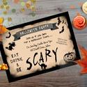 Halloween Party Meghívó, Halloween Üdvözlőlap, Őszi narancssárga lap, Naptár, képeslap, album, Dekoráció, Képeslap, levélpapír, Kép, A/6-os méretű Halloween Party Meghívó, narancssárga borítékkal.  1 oldala, hátulja üres.  550ft / db..., Meska