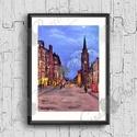 Őtthoni Dekoráció, Anglia, Skót Város, Éjszaka, Esti fények, London, Edinburgh, Angol festmény, Dekoráció, Képzőművészet, Kép, Festmény, A/4-es méretű nyomtatott kép, Print lap.   A nyomat saját akril festék alkotásomról készül ami egy H..., Meska