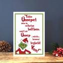 Karácsonyi Képeslap, Grincs Adventi Képeslap, Karácsonyi Dekoráció, Karácsonyi vicces üdvözlőlap , Naptár, képeslap, album, Dekoráció, Karácsonyi, adventi apróságok, Ajándékkísérő, képeslap, Fotó, grafika, rajz, illusztráció, Mindenmás, A/6-os méretű Igényes Egyedi Karácsonyi képeslap, piros borítékkal.   A saját magam által tervezett..., Meska