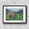 Otthoni Dekoráció, Skót festmény, Felföldi tehenek, tájkép festmény, Tehén festmény, Dekoráció, Képzőművészet, Kép, Festmény, A/4-es méretű nyomtatott kép, Print lap.   A nyomat saját akril festék alkotásomról készül ami Skót ..., Meska
